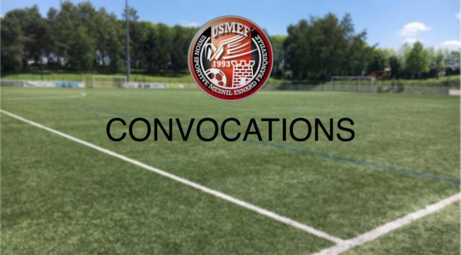 CATÉGORIE  U11 :  CONVOCATIONS  SAMEDI 15 DÉCEMBRE 2018