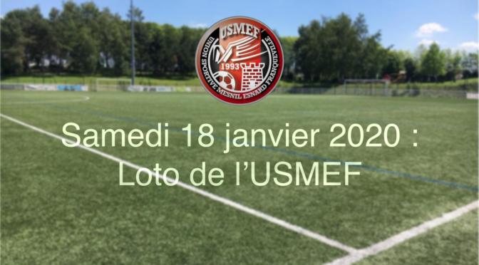 Samedi 18 janvier 2020 : LOTO DE L'USMEF