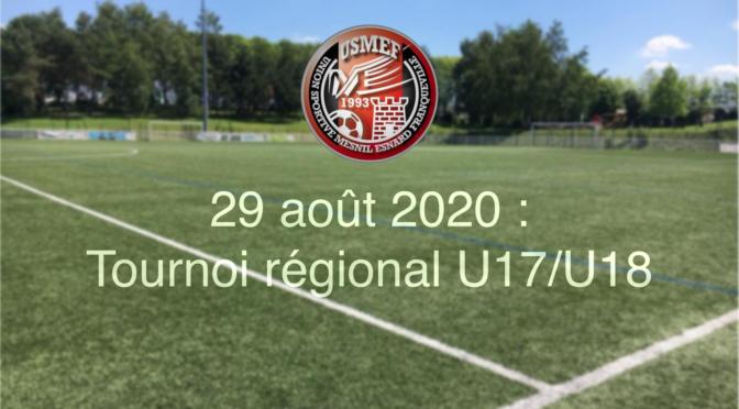 Samedi 29 août 2020 : tournoi régional U17/U18 organisé par l'USMEF !