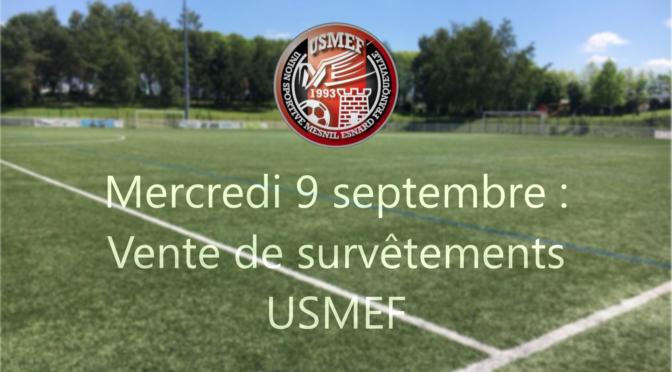 École de foot : vente exceptionnelle de survêtements USMEF ce mercredi !